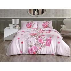 Постельное белье из ранфорса розовое с цветами SARDINYA евро