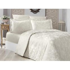Турецкое постельное белье однотонное шелковый сатин жаккард евро BELEN