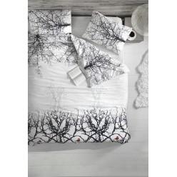 Постельное белье из ранфорса белое с черными ветками 1,5 спальное
