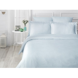 Турецкое постельное белье шелковый сатин жаккард евро VERTIKAL в мелкую полоску