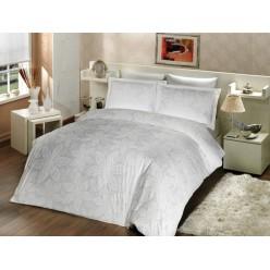 Турецкое постельное белье из сатин делюкса кремовое с листьями BLENDA cатин евро