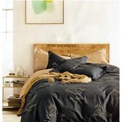 Турецкое постельное белье двустороннее сатин DELUX евро GANN синее с дельфинами