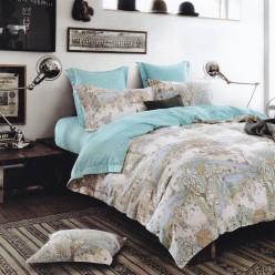 Турецкое постельное белье двустороннее сатин DELUX евро FERA бирюзовое с деревьями