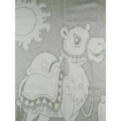 Одеяло для новорожденных хлопковое серое с верблюдом