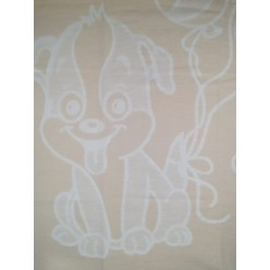 Одеяло для новорожденных хлопковое бежевое с собачкой