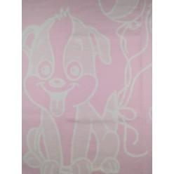 Одеяло для новорожденных хлопковое розовое с собачкой