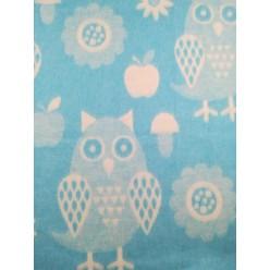 Одеяло для новорожденных хлопковое голубое с совой
