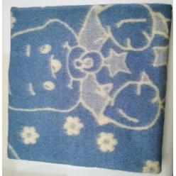 Одеяло детское шерстяное голубое с рисунком
