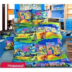 Детское постельное белье бязь синее с машинками
