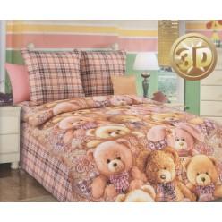 Детский комплект постельного белья бязь коричневый с плюшевыми мишками