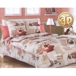 Детский комплект постельного белья бязь бежевый с домашними питомцами