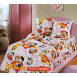 Детский комплект постельного белья бязь Очаровашки розовый