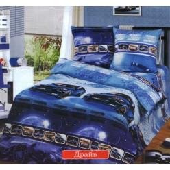 Детский комплект постельного белья бязь Драйв синий с машинами
