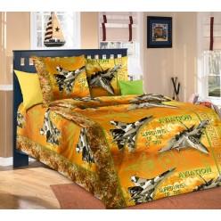 Детское постельное белье из бязи желтое с истребителями