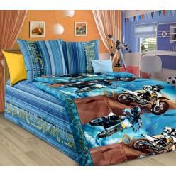 Детское постельное белье из бязи синее с мотоциклами