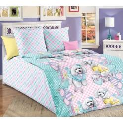 Детское постельное белье бязь голубое с веселым пуделем