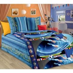 Детское постельное белье из бязи синее с футболистами