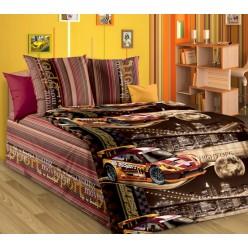 Детское постельное белье из бязи коричневое с спортивными машинками