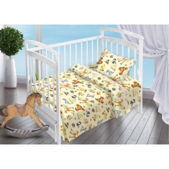 Детский комплект постельного белья для новорожденных Лесные Обитатели поплин бежевый с зверушками