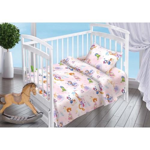 Детский комплект постельного белья для новорожденных Маленькая принцесса поплин нежно розовый