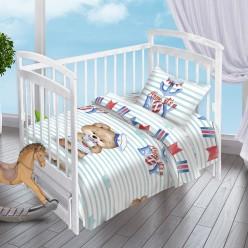 Детский комплект постельного белья для новорожденных Мишка-Морячок поплин белый в голубую полоску