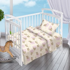 Детский комплект постельного белья для новорожденных Облачные Мишки поплин бежевый с мишками