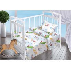 Детский комплект постельного белья для новорожденных Отважный герой поплин белый