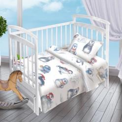 Детский комплект постельного белья для новорожденных поплин Пингвинята белый