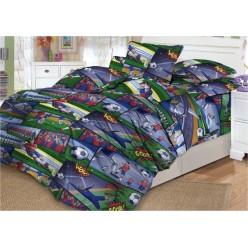 Детское постельное белье поплин зеленое футбол