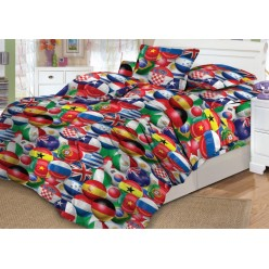 Детское постельное белье поплин красное с футбольными мячами