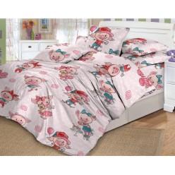 Детское постельное белье поплин Хрюшки бледно розовое