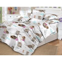 Детское постельное белье поплин белое с пушистыми котятами