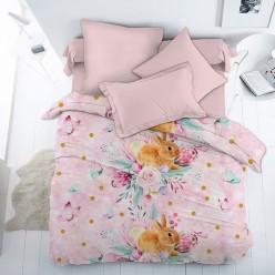 Детское постельное белье поплин Весенний зайка нежно розовое