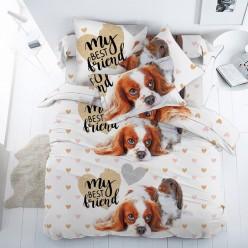 Детское постельное белье поплин двустороннее белое Кроль и спаниель