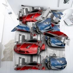 Детское постельное белье поплин двустороннее белое машинки