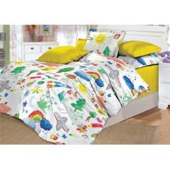 Детское постельное белье поплин двустороннее белое радуга