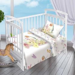 Детский комплект постельного белья для новорожденных поплин Птичка белый