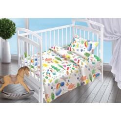 Постельное белье для новорожденных поплин белое с радугой