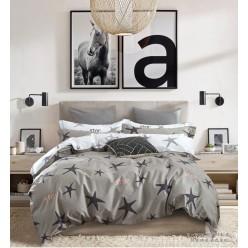 Подростковое постельное белье сатиновое двустороннее серое с морскими звездами и белым отворотом
