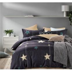 Детское двустороннее постельное белье софткоттон черное с звездами