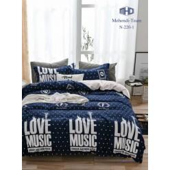 Подростковое постельное белье двустороннее синее в горошек