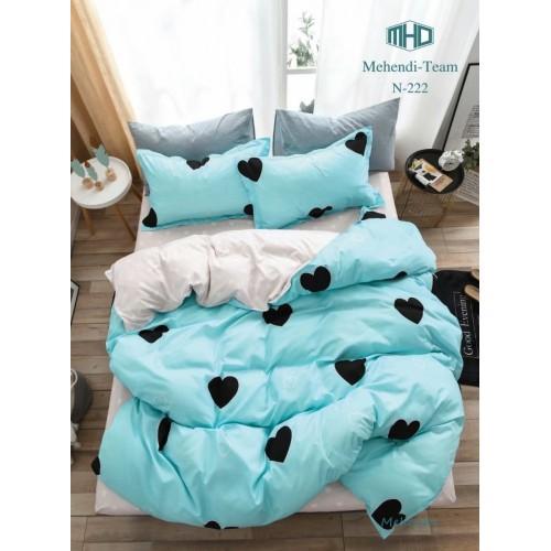 Детское постельное белье двустороннее голубое с сердечками