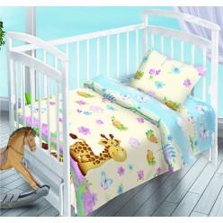 Детский комплект постельного белья для новорожденных поплин кремовый с жирафом