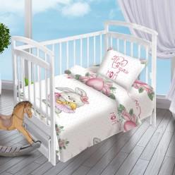 Детский комплект постельного белья для новорожденных Зайка-Балерина поплин белый с зайчиком