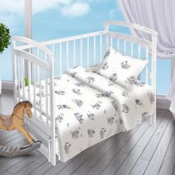 Детский комплект постельного белья для новорожденных Зайки поплин белый
