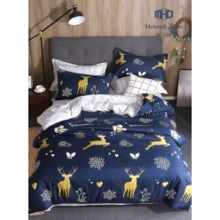 Детское двустороннее постельное белье софткоттон синее с сказочными оленями