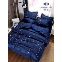 Детское двустороннее постельное белье софткоттон темно синее с созвездиями