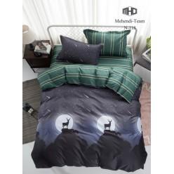 Детское двустороннее постельное белье софткоттон черное с оленями