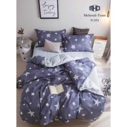 Детское двустороннее постельное белье софткоттон дымчато синее с звездами
