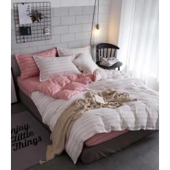 Детское двустороннее постельное белье софткоттон нежно розовое в полоску